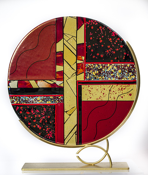 Red, Black, and Gold Art Glass Sculpture