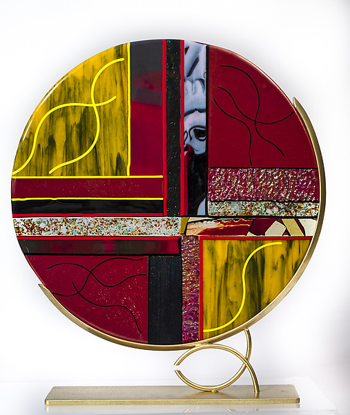 Yellow, Black, and Red Art Glass Sculpture