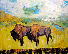 Buffalo Duo by Janice Sugg (Oil Painting)