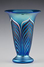 Private Collection, Blue Lustre Trumpet Vase by Donald  Carlson (Art Glass Vase)
