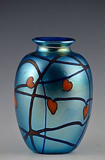 Private Collection, Red Hearts and Vines Vase by Donald  Carlson (Art Glass Vase)
