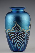 Private Collection, Blue Lustre Vase by Donald  Carlson (Art Glass Vase)