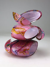Remnant Vessel in Pink and White by Justin Hunting (Art Glass Sculpture)