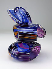 Transparent Remnant Vessel in Blue and Amber by Justin Hunting (Art Glass Sculpture)