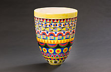 Intricately Patterned Tall Vase by Jean Elton (Ceramic Vase)