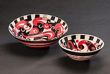 Black & Red Two-Bowl Pair by Jean Elton (Ceramic Bowl)