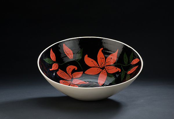 Black and Red Floral Bowl