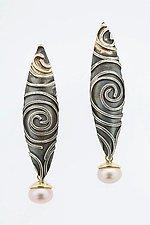 Spiral Earrings with Pearl by Marne Ryan (Silver & Pearl Earrings)