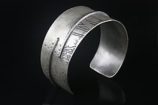 Large Etched Cuff by Linda Azar (Silver Bracelet)