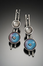 Blue and Silver Earrings by Beth Novak (Enameled Earrings)