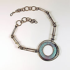 Blue Cage Link Necklace by Beth Novak (Enameled Necklace)