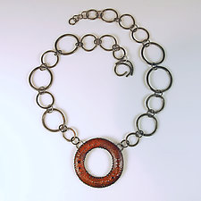 Big Orange Link Necklace by Beth Novak (Enameled Necklace)