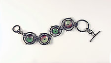 Green Orbits Bracelet by Beth Novak (Enameled Bracelet)