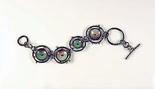 Green Orbits Bracelet by Beth Novak (Enameled Bracelet)