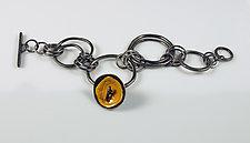 Dark Yellow Big Link Bracelet by Beth Novak (Enameled Bracelet)
