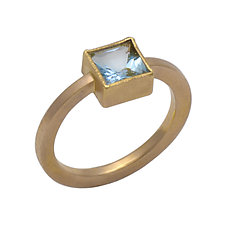 Fair Trade Aquamarine and Gold Ring by Susan Crow (Gold & Stone Ring)
