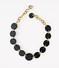 Black Disc Necklace by Syra Gomez (Ceramic Necklace)