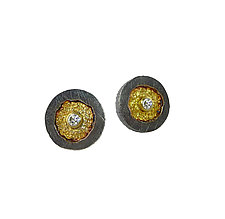 Erosion Post Earrings with Diamonds by Jenny Reeves (Gold, Silver & Stone Earrings)
