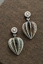 Small Lantern Plant Earrings by Sooyoung Kim (Silver & Stone Earrings)