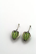 Threaded Lantern Plant Earrings in Green by Sooyoung Kim (Silver & Stone Earrings)