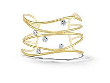 Scribble Wide Ribbon Cuff by Dana Melnick (Gold & Stone Bracelet)