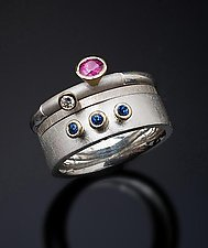 Raspberry Blues Stacking Set by Stephen Dixon (Gold, Silver, & Stone Ring)