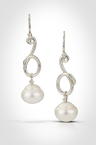 Vine Earrings with Ringed Pearl Drops