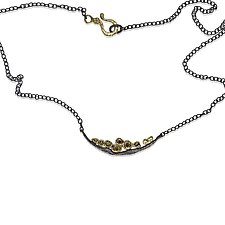 Wavy Pebbles Bar Necklace by Rona Fisher (Gold, Silver & Stone Necklace)