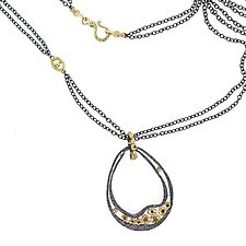 Water Drop Pendant Large with Chain by Rona Fisher (Gold, Silver & Stone Necklace)
