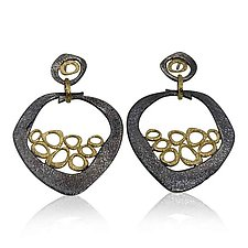 Open Pebble Mesh Earrings by Rona Fisher (Gold & Silver Earrings)