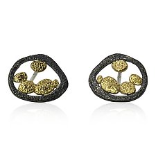 Tossed Pebbles Open Ear Posts by Rona Fisher (Gold & Silver Earrings)