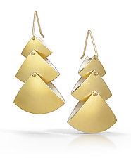 Triple Fan Earrings by Thea Izzi (Gold & Silver Earrings)