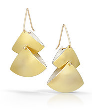 Double Fan Earrings by Thea Izzi (Gold & Silver Earrings)