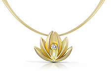 Lotus Pendant in 18k by Thea Izzi (Gold & Stone Necklace)
