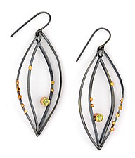 Silver Lake Leaf Earrings by Sydney Lynch (Gold, Silver & Stone Earrings)