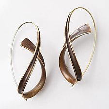Bronze Cascade Earrings by Nancy Linkin (Gold & Bronze Earrings)