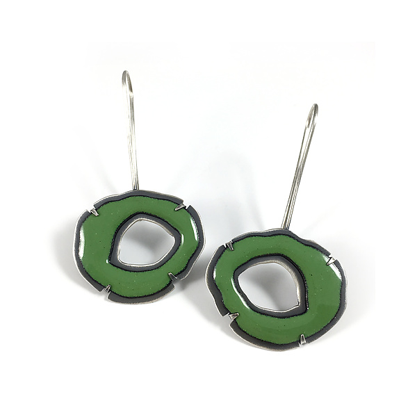 Small Single RC Enamel Earrings in Green