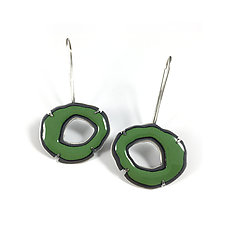 Small Single RC Enamel Earrings in Green by Lisa Crowder (Enameled Earrings)
