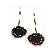 Small Stitched Enamel Earrings in Black by Lisa Crowder (Enameled Earrings)