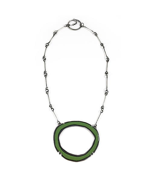 Thin RC enamel Necklace in Green