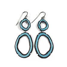 Double Thin Rough Cut Dangle Earrings in Blue by Lisa Crowder (Enameled Earrings)
