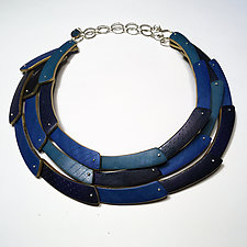 Tri Crescent Necklace in Blues by Louise Fischer Cozzi (Polymer Clay Necklace)
