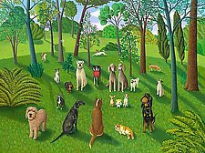The Dog Park 3 by Jane Troup (Oil Painting)