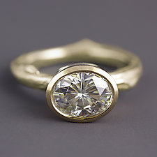 Yellow Gold Moissanite Twig Ring by Sarah Hood (Gold & Stone Ring)