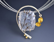 Diamond Arc Pendant by Judith Neugebauer (Gold, Silver & Stone Necklace)