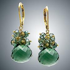 Green Quartz Cluster Earrings by Judy Bliss (Gold & Stone Earrings)