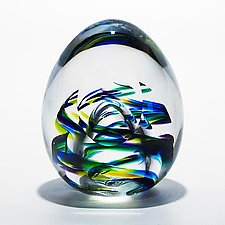 Helix Weight and Facet in Peacock by Michael Trimpol and Monique LaJeunesse (Art Glass Paperweight)