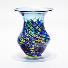 Optic Rib Urn Small Cool Lime with Cerulean by Michael Trimpol and Monique LaJeunesse (Art Glass Vessel)