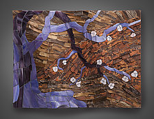 Night Blossom by Aaron Laux (Art Glass & Wood Wall Sculpture)