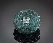 Woven Glass Birds Nest in Ocean by Demetra Theofanous (Art Glass Sculpture)